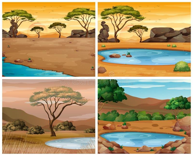 Cuatro escenas de la sabana en los momentos diferentes de día libre illustration