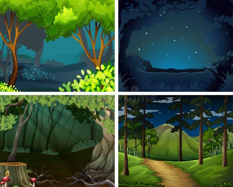 Cuatro escenas del bosque en la noche ilustración del vector