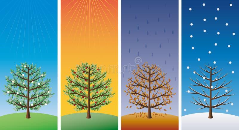 Cuatro estaciones - árboles stock de ilustración