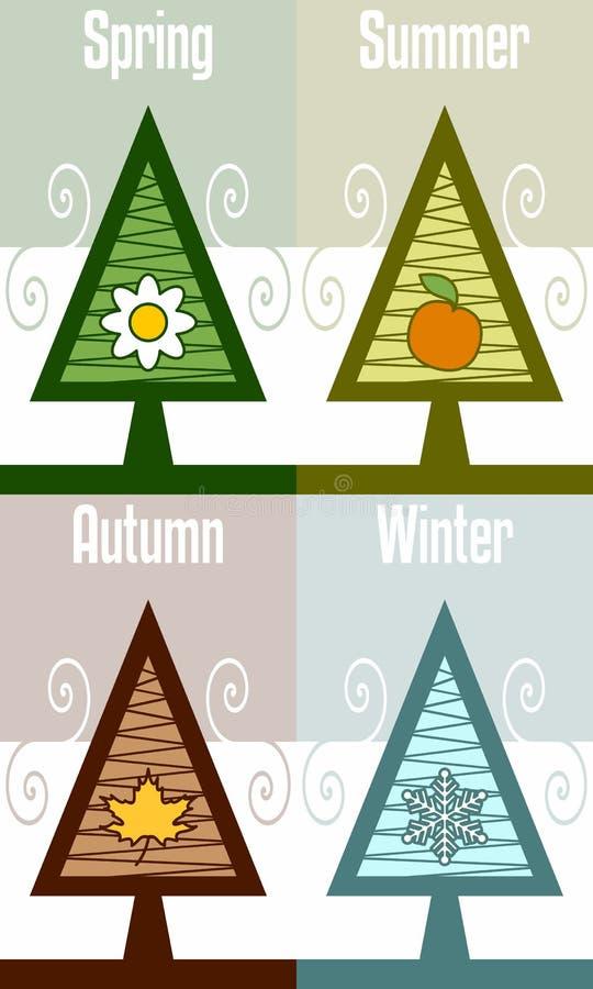 Cuatro estaciones abstraen el árbol stock de ilustración