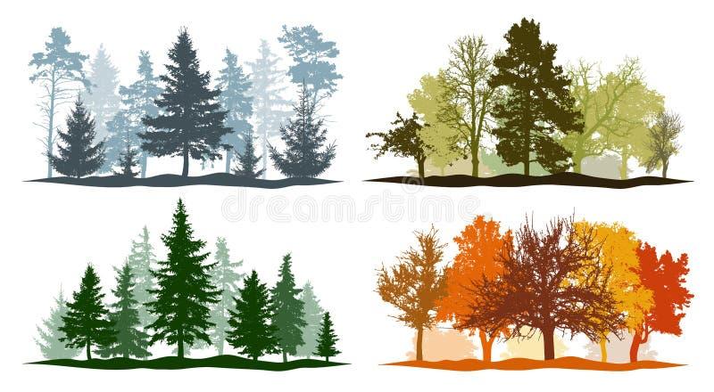 Cuatro estaciones. Conjunto de siluetas de árboles de invierno, primavera, verano y otoño. Ilustraci?n del vector libre illustration