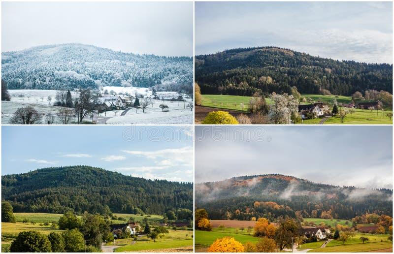 Cuatro estaciones del año en clima europeo en Alemania meridional como concepto de la naturaleza - invierno, primavera, verano, o fotografía de archivo libre de regalías
