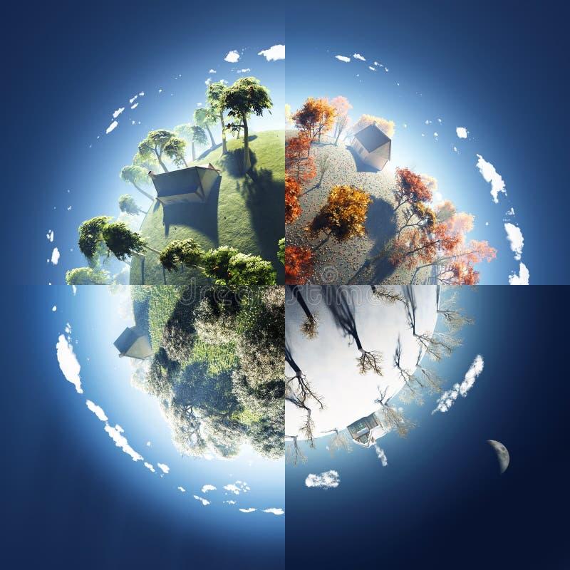 Cuatro estaciones en el pequeño planeta libre illustration