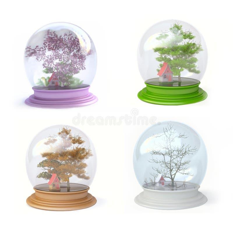 Cuatro estaciones en globo de la nieve stock de ilustración