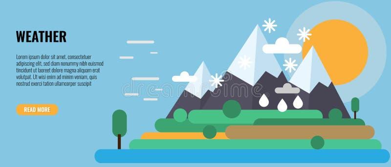 Cuatro estaciones en un paisaje Invierno, nieve, primavera, lluvia, oto?o, verano, viento y tiempo soleado en la monta?a Vector stock de ilustración