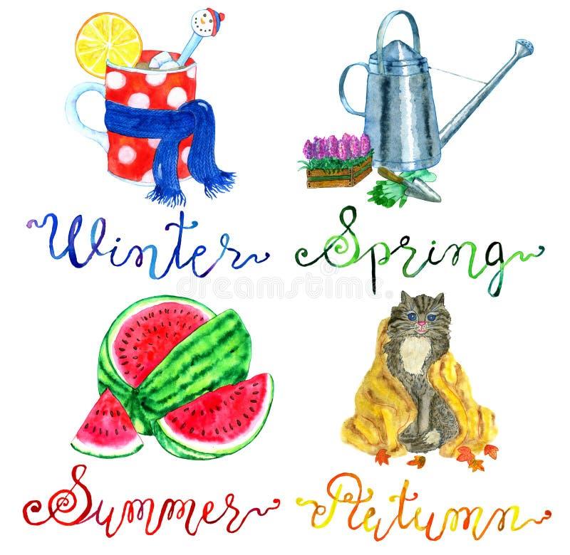 Cuatro estaciones fijaron con símbolos conceptuales del invierno, de la primavera, del verano y de la caída libre illustration