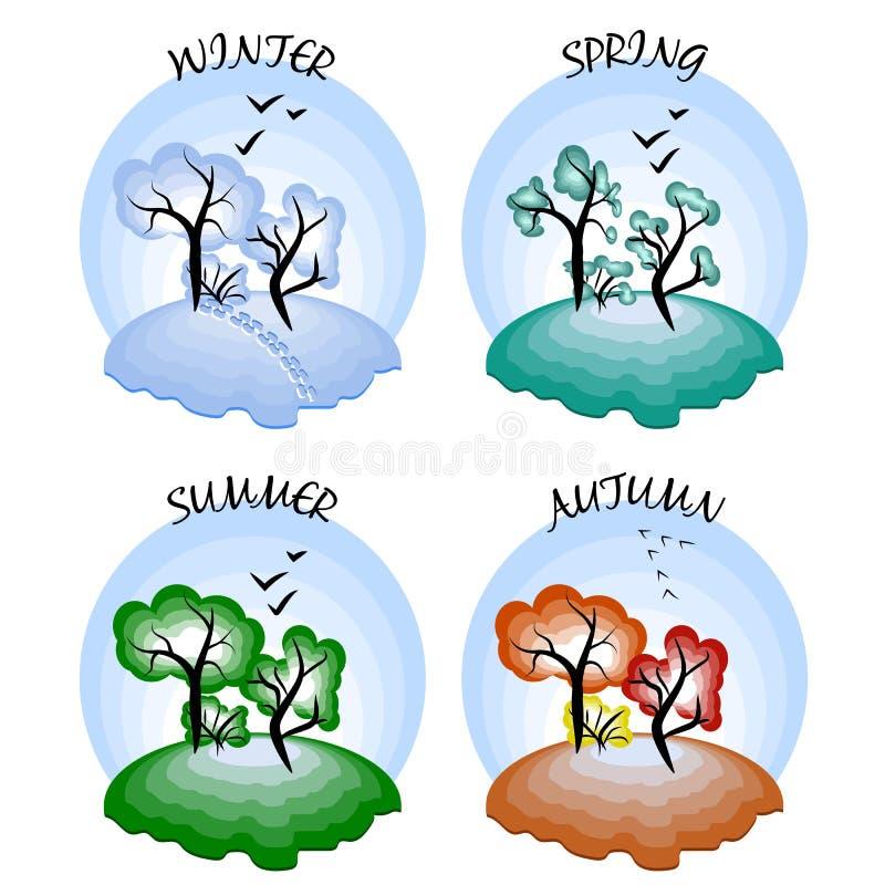 Cuatro estaciones Invierno, primavera, verano y otoño stock de ilustración