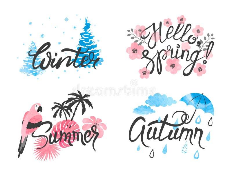 Cuatro estaciones - invierno, resorte, verano, oto?o libre illustration