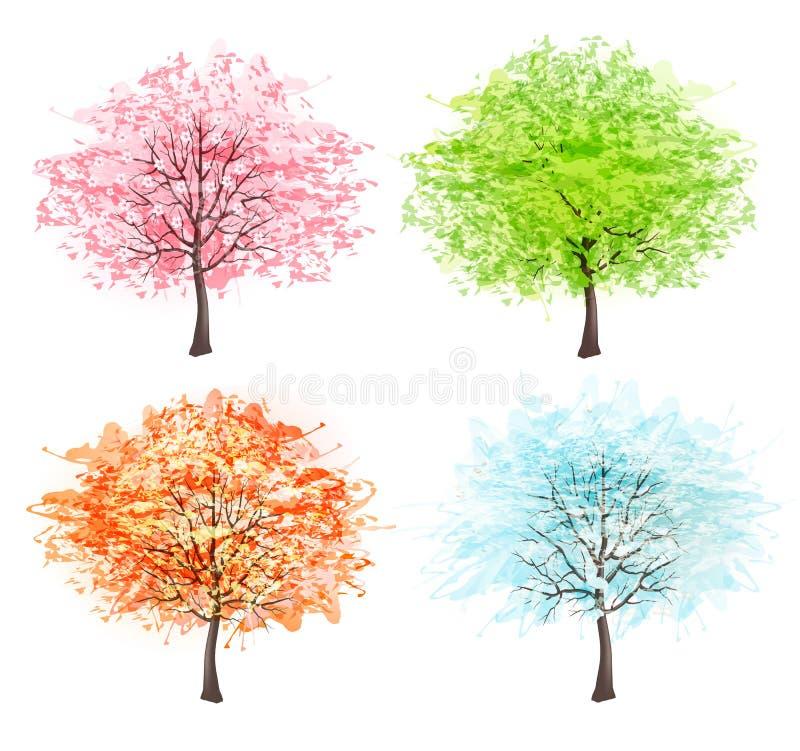 Cuatro estaciones - resorte, verano, otoño, invierno stock de ilustración