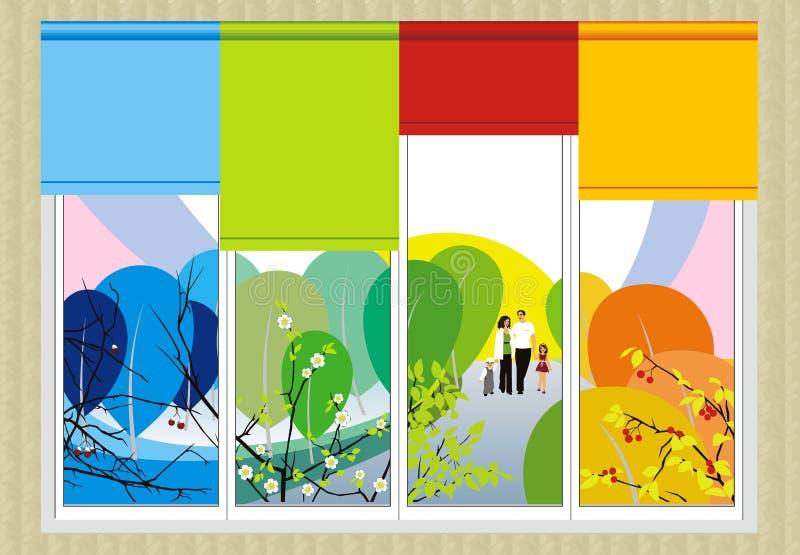 Cuatro estaciones y una familia feliz ilustración del vector