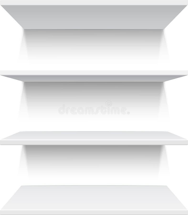 Cuatro estantes realistas blancos stock de ilustración