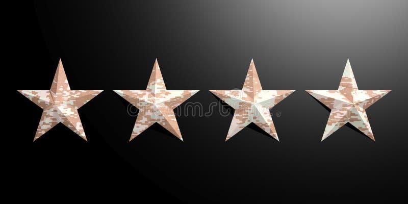 Cuatro estrellas militares americanas del modelo aisladas en fondo negro ilustración 3D ilustración del vector
