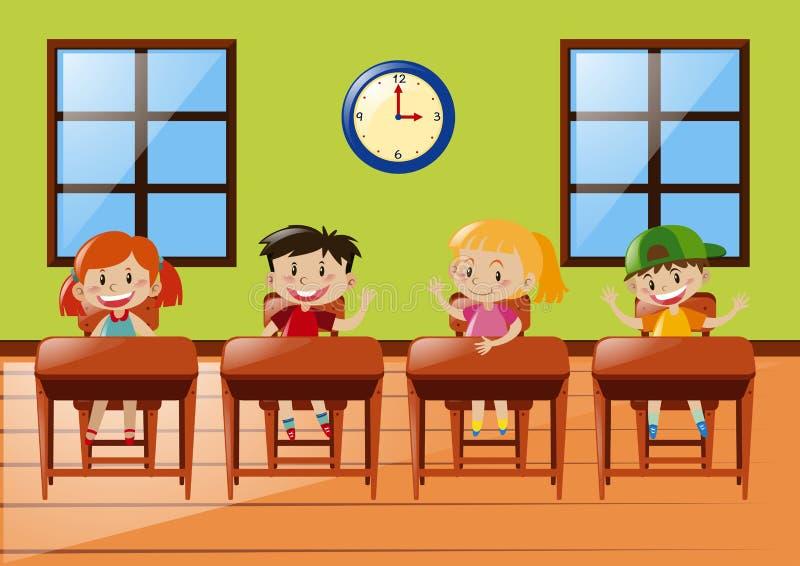 Cuatro estudiantes que se sientan en sala de clase libre illustration