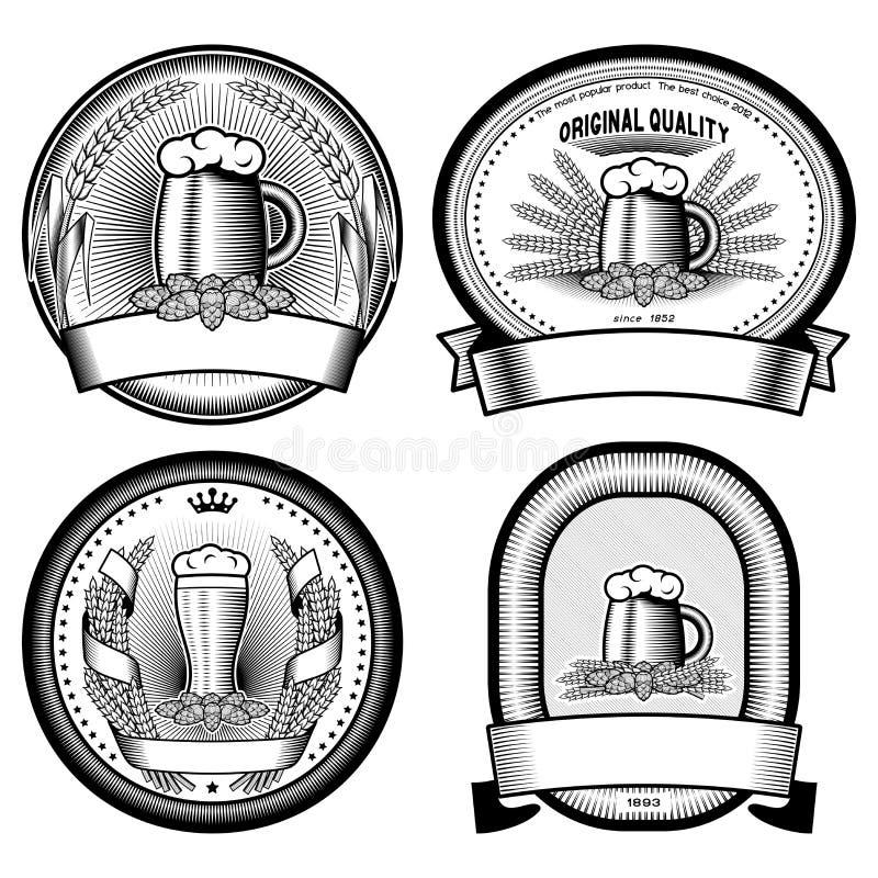 Cuatro etiquetas de la cerveza (blancos y negros) stock de ilustración