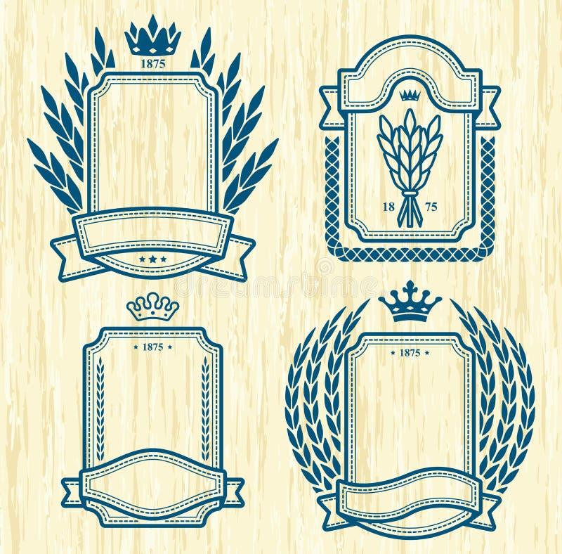Cuatro etiquetas en la textura de madera libre illustration