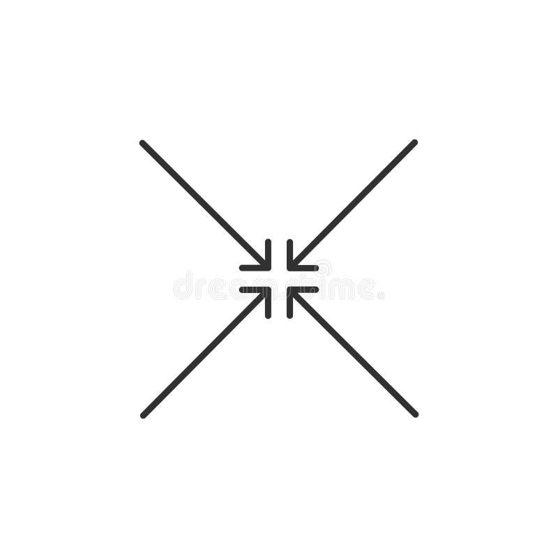 cuatro flechas ajustadas negras señalan al centro Punto de reuni?n Icono de las direcciones de la fusi?n Ejemplo del vector aisla libre illustration
