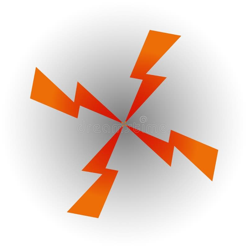 Cuatro flechas bajo la forma de relámpago convergen hacia el centro libre illustration