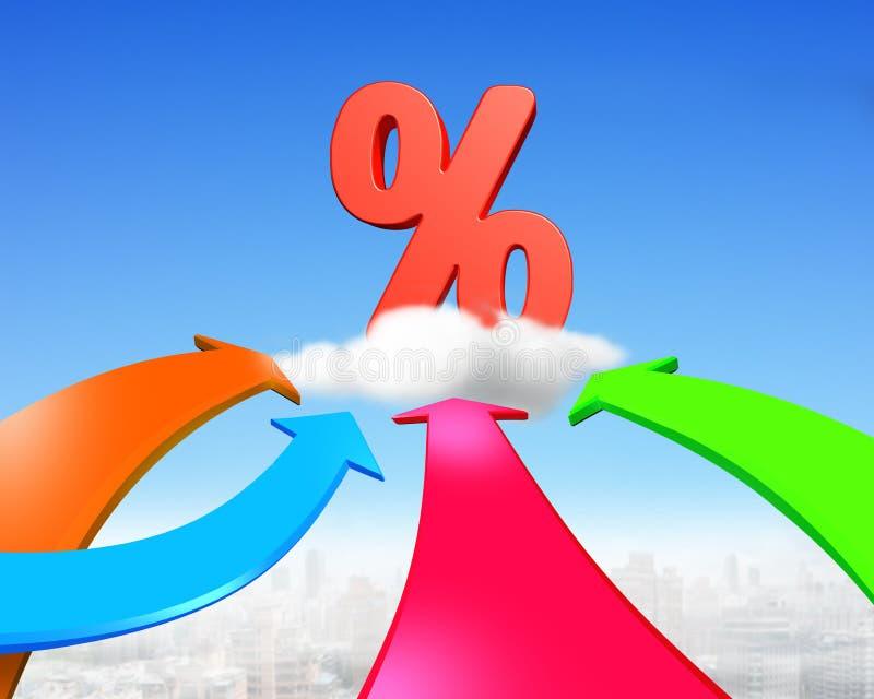 Cuatro flechas del color van hacia muestra de porcentaje roja libre illustration