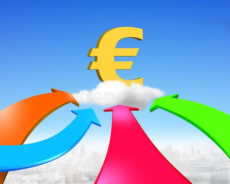Cuatro flechas del color van hacia símbolo euro de oro stock de ilustración