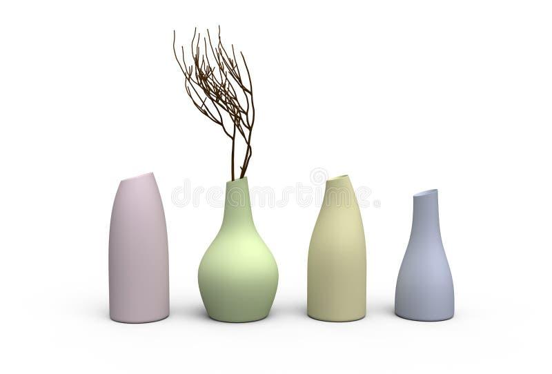 Cuatro floreros del color stock de ilustración