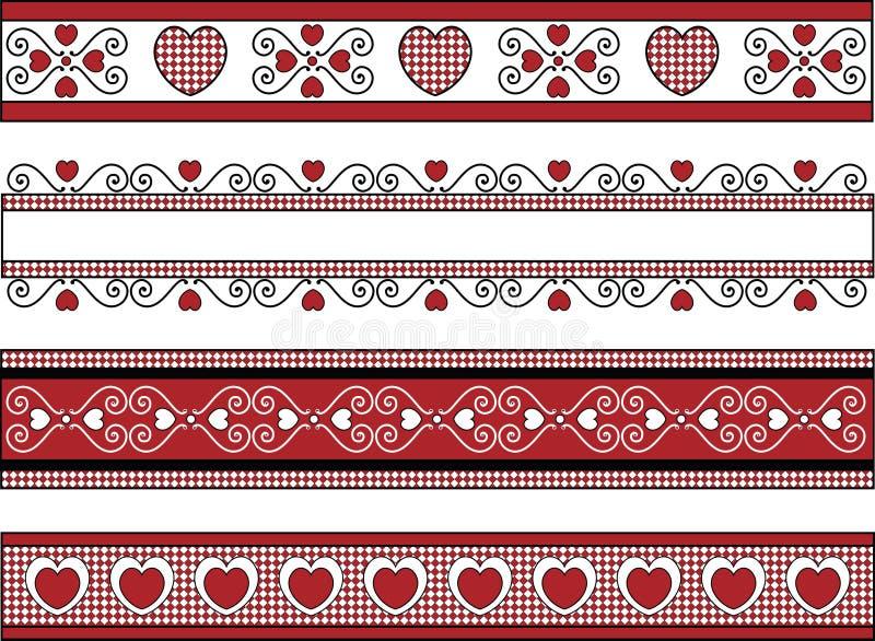 Cuatro fronteras de la tarjeta del día de San Valentín con los ajustes de la guinga stock de ilustración