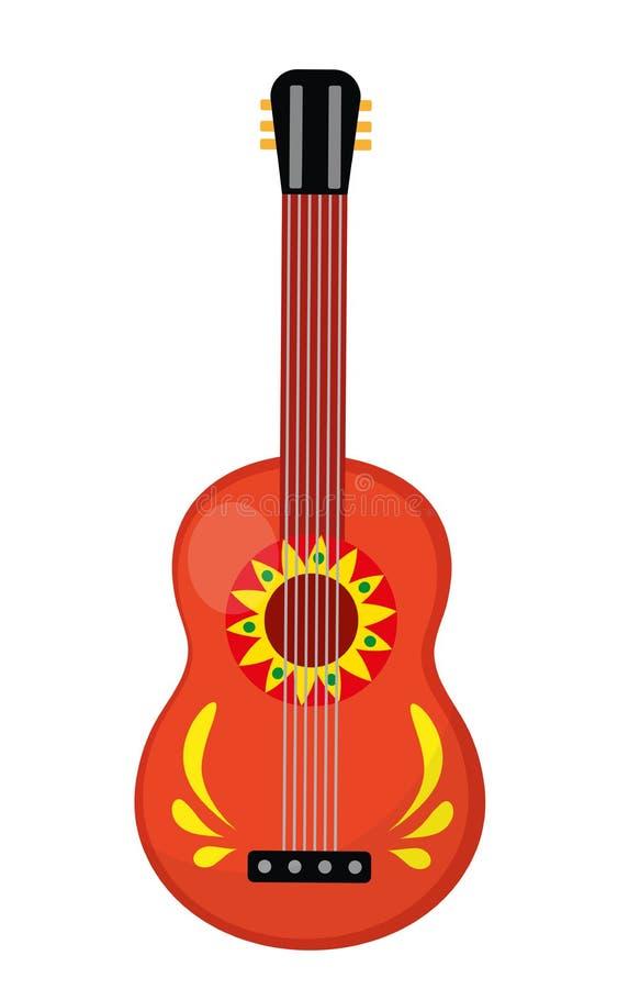Cuatro-Gitarrenikone, flache Art Mexikanisches Musikinstrument Getrennt auf weißem Hintergrund Vektorillustration, Clipart lizenzfreie abbildung