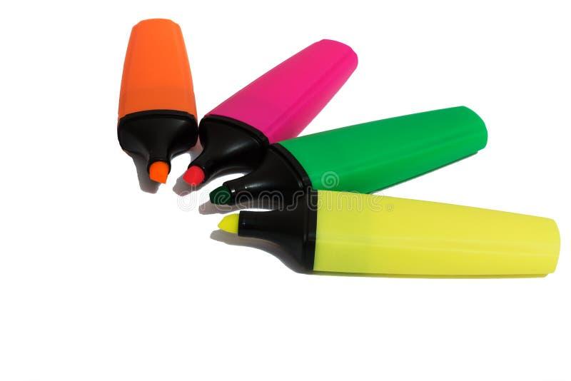 Cuatro Highlighters coloreados foto de archivo libre de regalías
