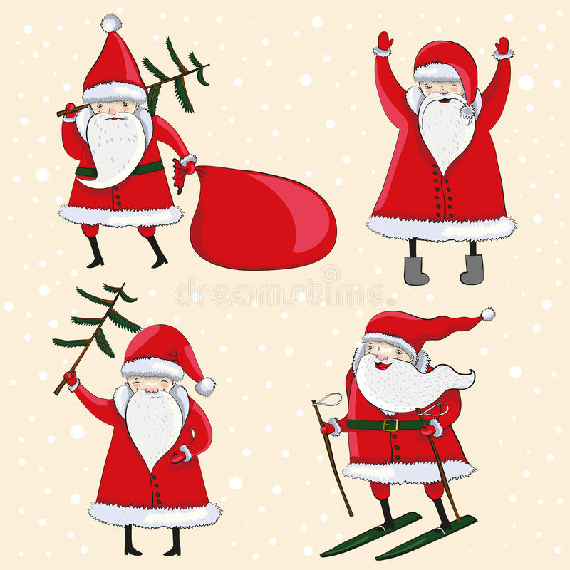 Cuatro historieta feliz Santas libre illustration