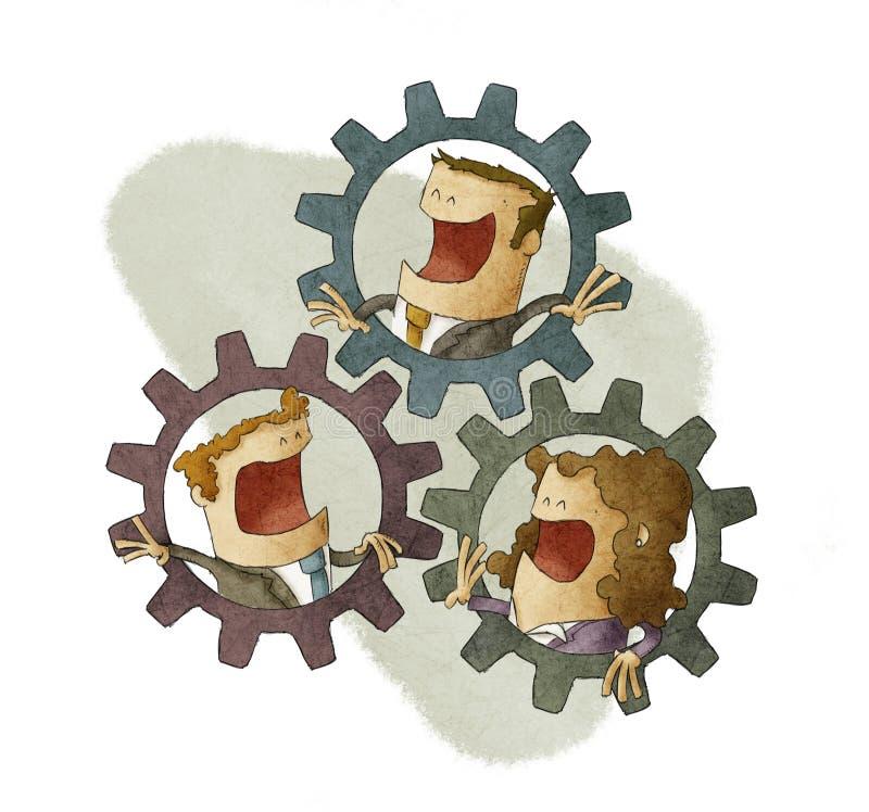 Cuatro hombres de negocios que conectan los dientes interiores libre illustration