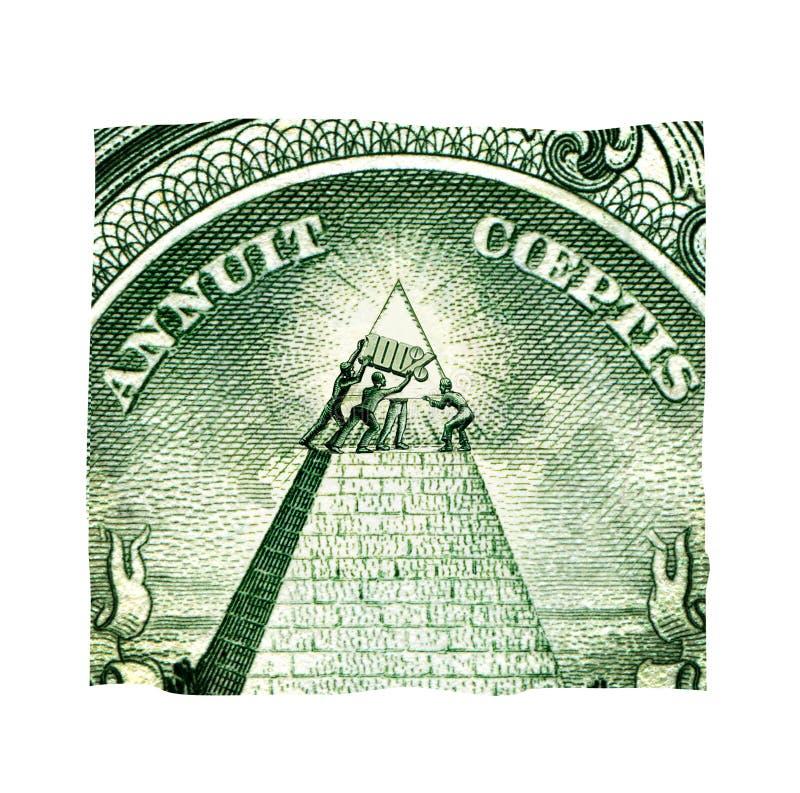 Cuatro hombres pusieron la pirámide en la cima de la pirámide del dólar americano Calidad 100% Patrón oro libre illustration