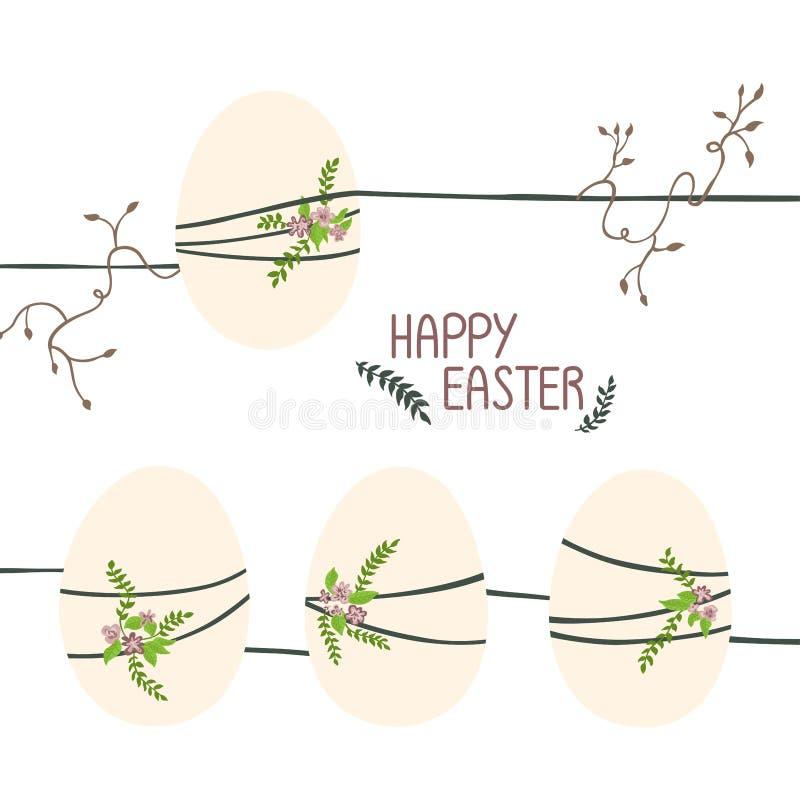 Cuatro huevos de Pascua en hilos, flores y vides stock de ilustración