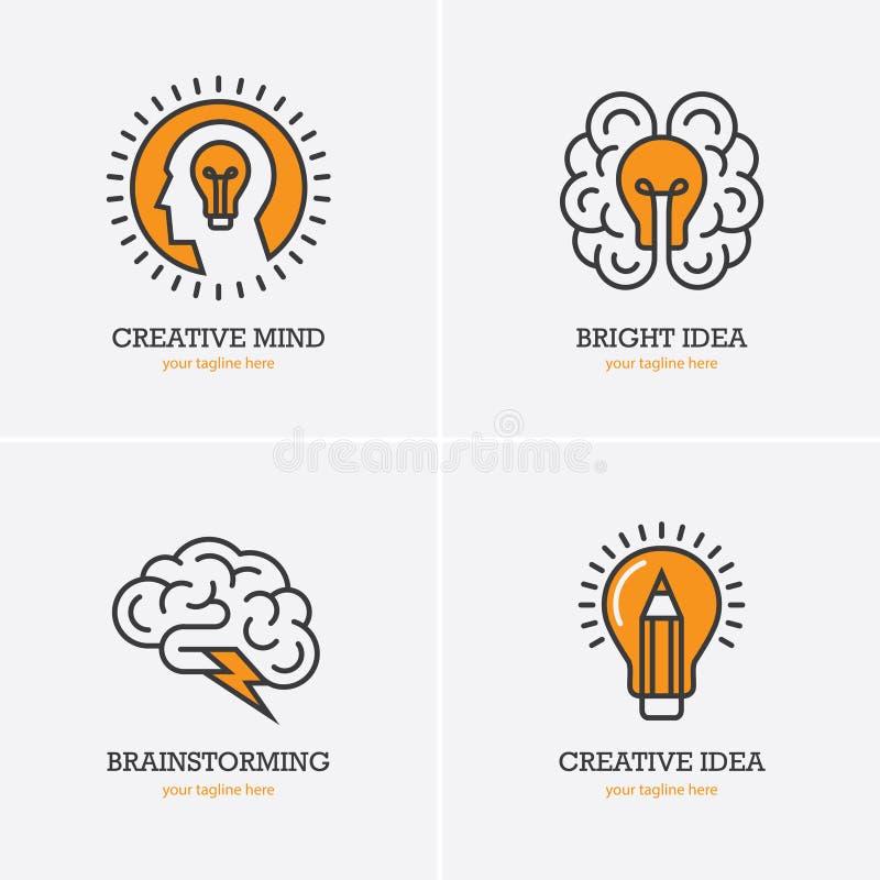 Cuatro iconos con la cabeza humana, el cerebro y la bombilla stock de ilustración