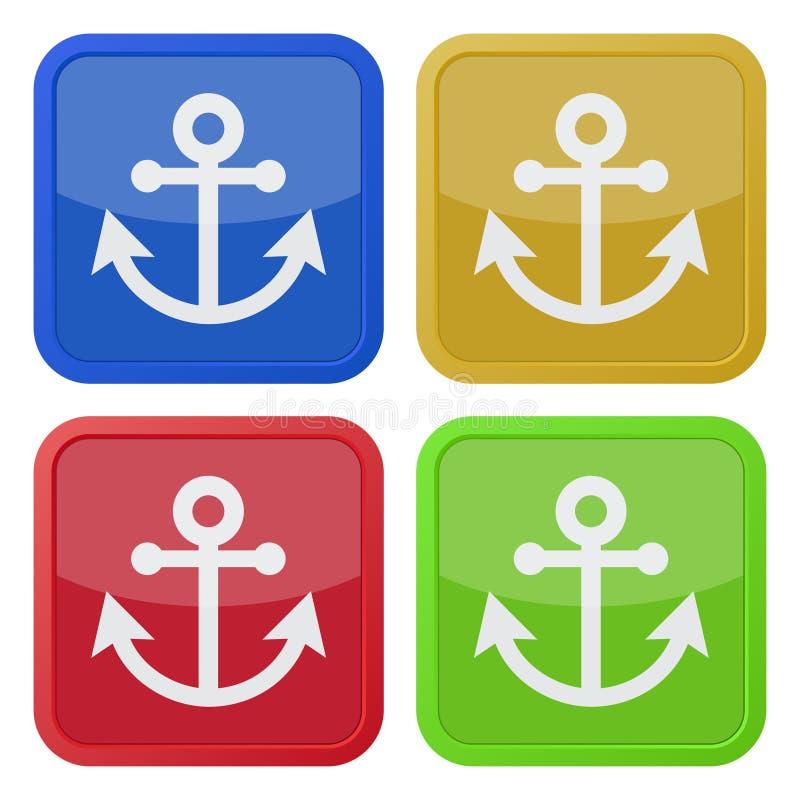 Cuatro iconos cuadrados del color, ancla libre illustration