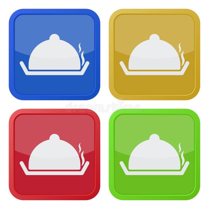 Cuatro iconos cuadrados del color, bandeja de servicio con la tapa stock de ilustración