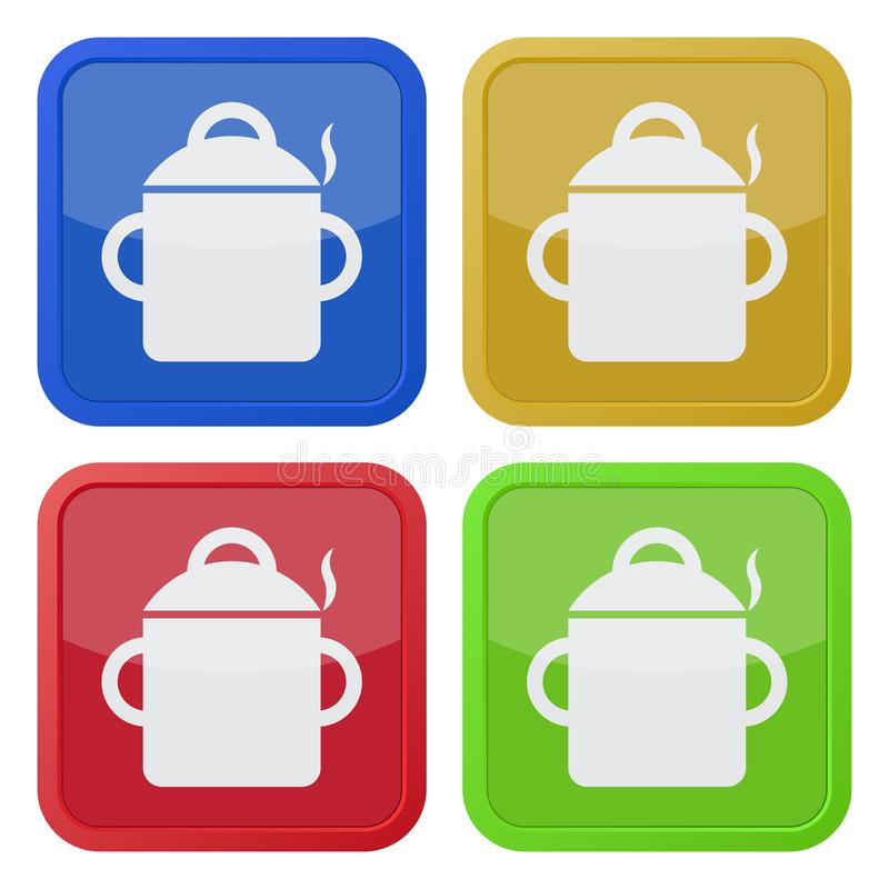 Cuatro iconos cuadrados del color, cocinando el pote con humo libre illustration