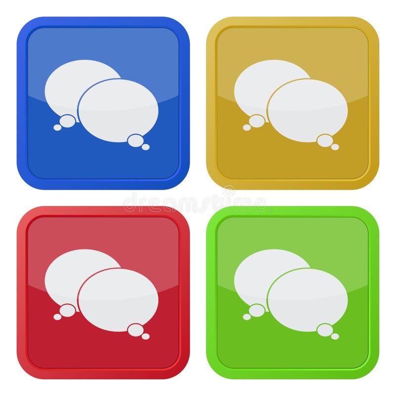 Cuatro iconos cuadrados del color, dos burbujas del discurso stock de ilustración