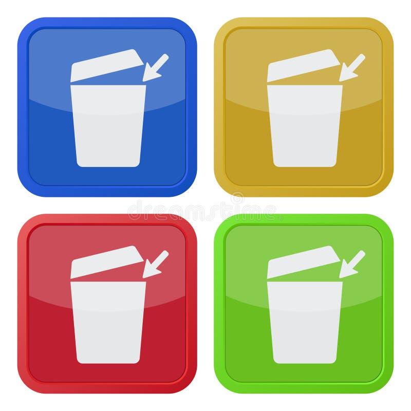 Cuatro iconos cuadrados del color, trashcan con la tapa abierta stock de ilustración
