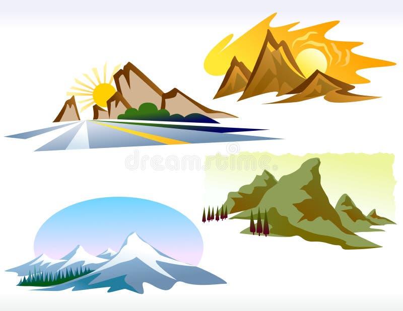Cuatro iconos de la montaña de las estaciones ilustración del vector