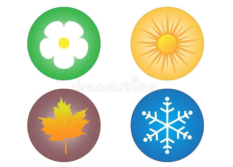 Cuatro iconos de las estaciones stock de ilustración
