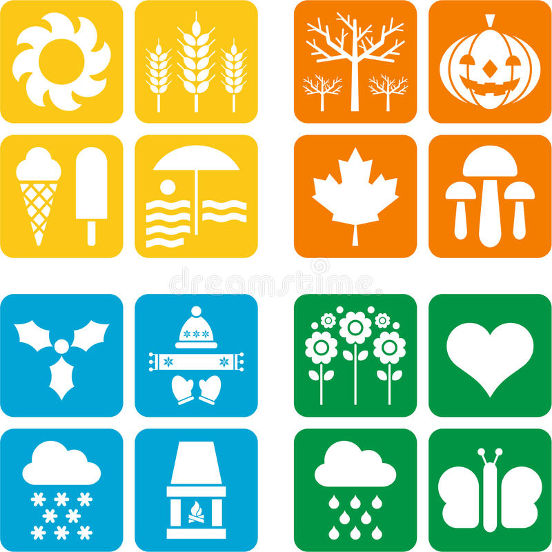 Cuatro iconos para las cuatro estaciones ilustración del vector