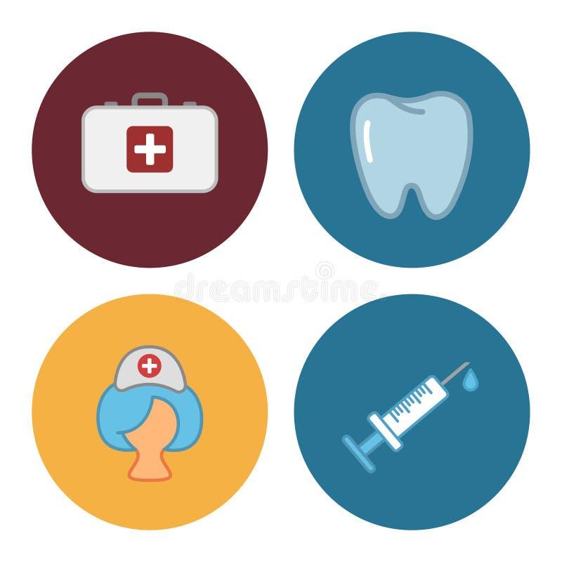 Cuatro iconos planos de la medicina libre illustration