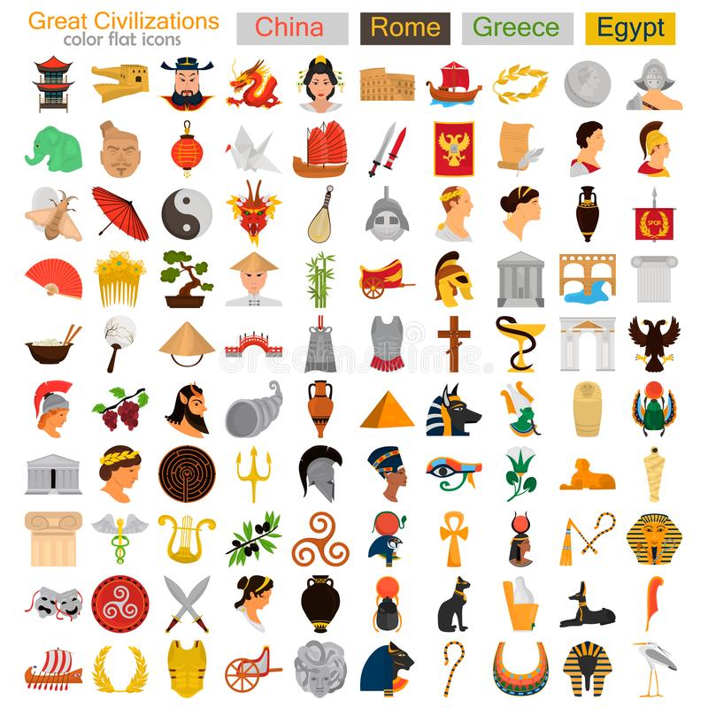 Cuatro iconos planos del gran color de las civilizaciones fijados ilustración del vector