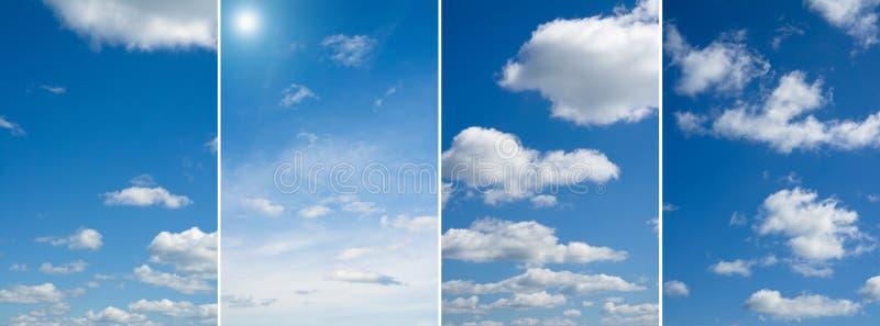 Cuatro imágenes cielo, nubes sobre horizonte foto de archivo libre de regalías