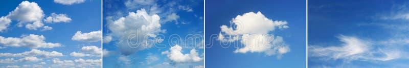 Cuatro imágenes del cielo hermoso, nubes sobre horizonte fotografía de archivo