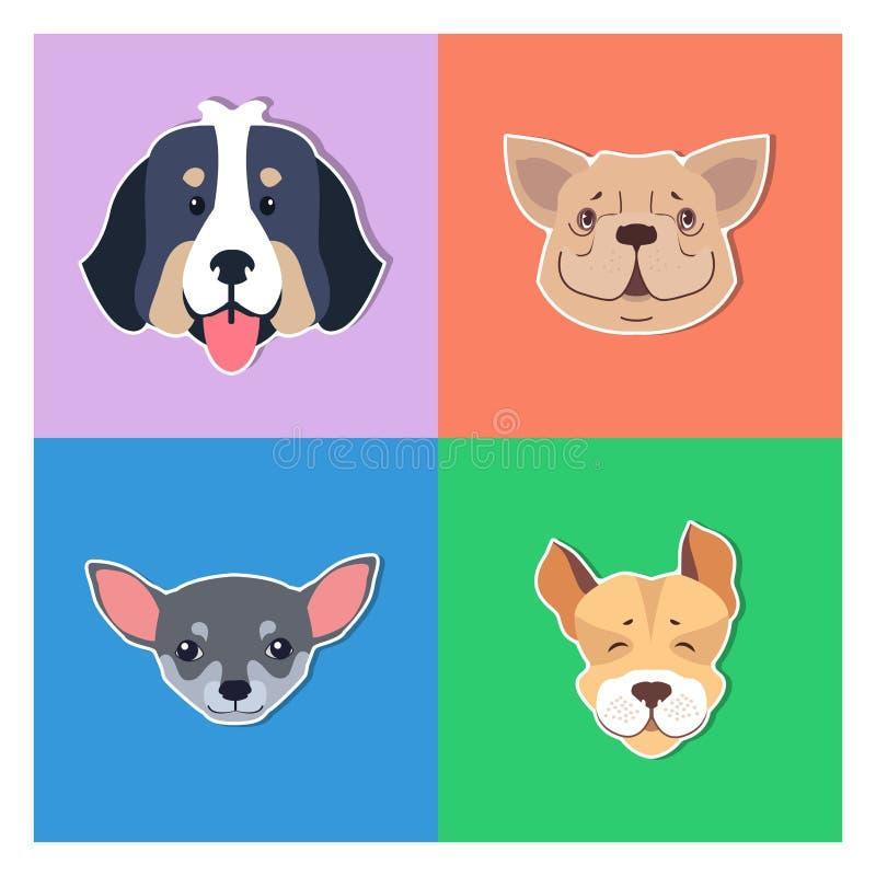 Cuatro jefes caninos de concepto de pedigrí del perrito de los perros ilustración del vector