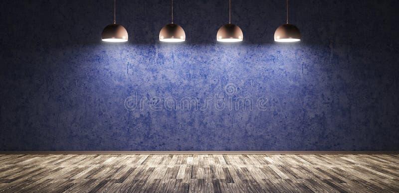 Cuatro lámparas sobre la representación azul del muro de cemento 3d stock de ilustración