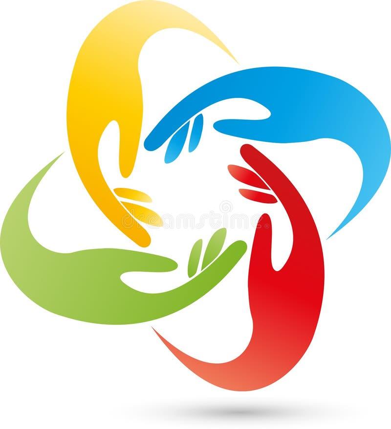 Cuatro logotipos de las manos, de la gente y de las manos libre illustration