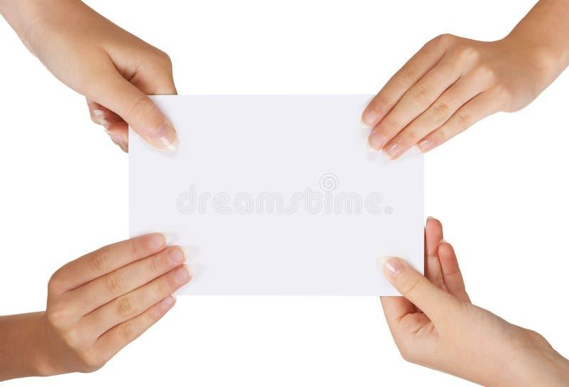 Cuatro manos imagen de archivo