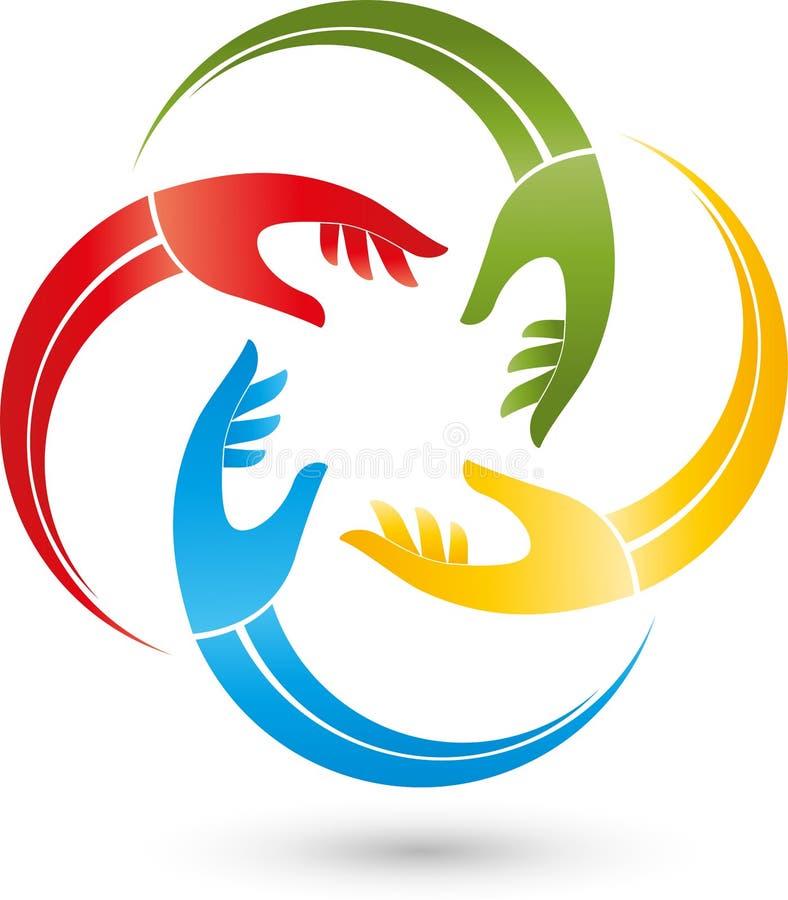 Cuatro manos en logotipo del color, de la gente y del equipo ilustración del vector