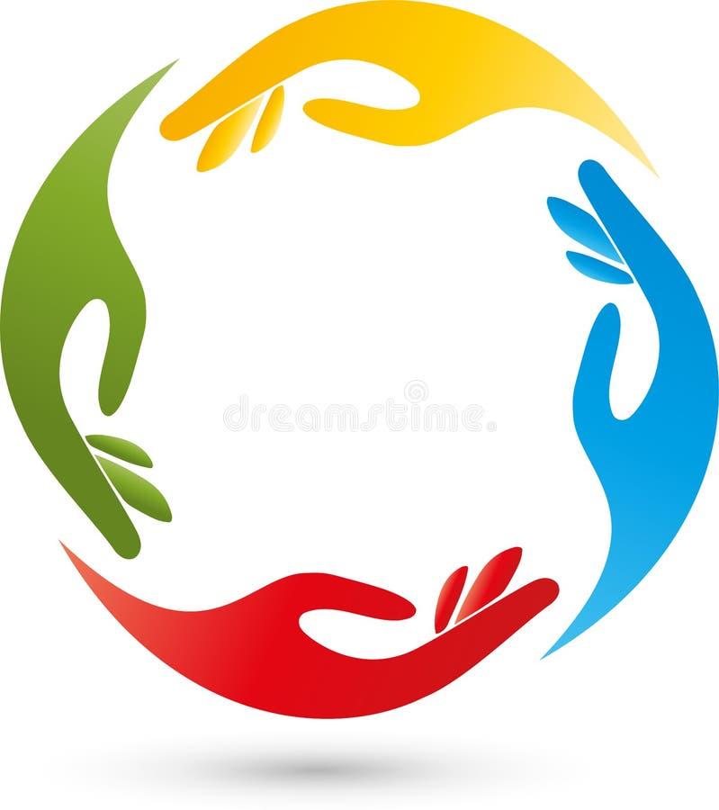 Cuatro manos en logotipo del color, del equipo y de la gente stock de ilustración
